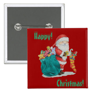 santa with christmas toys and gifts in a stocking button