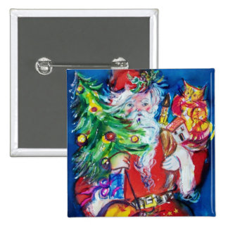 SANTA WITH CHRISTMAS TREE AND GIFTS 2 INCH SQUARE BUTTON