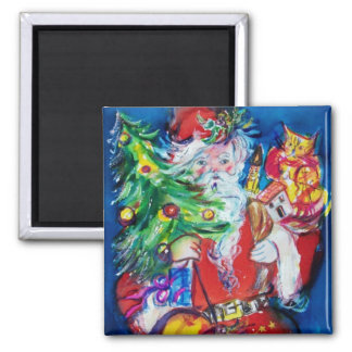 SANTA WITH CHRISTMAS TREE AND GIFTS 2 INCH SQUARE MAGNET