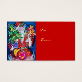 SANTA WITH CHRISTMAS TREE AND GIFTS BUSINESS CARD