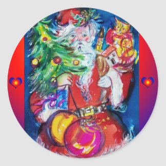 SANTA WITH CHRISTMAS TREE AND GIFTS CLASSIC ROUND STICKER