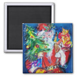 SANTA WITH CHRISTMAS TREE AND GIFTS FRIDGE MAGNET