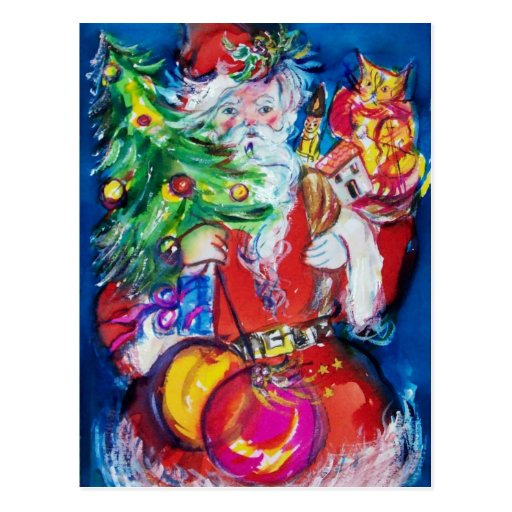 SANTA WITH CHRISTMAS TREE AND GIFTS POST CARD