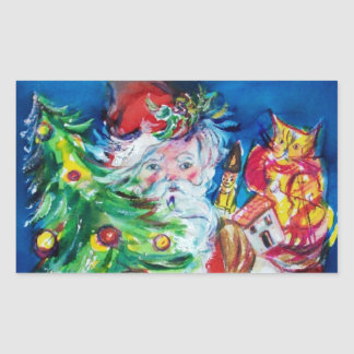 SANTA WITH CHRISTMAS TREE AND GIFTS RECTANGULAR STICKER