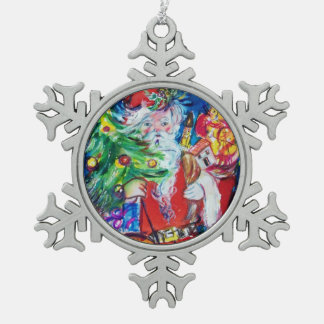 SANTA WITH CHRISTMAS TREE AND GIFTS SNOWFLAKE PEWTER CHRISTMAS ORNAMENT