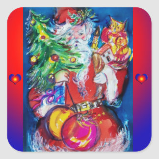 SANTA WITH CHRISTMAS TREE AND GIFTS SQUARE STICKER