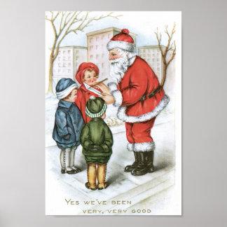 Santa with Christmas Wish List Poster