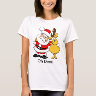 Santa With Deer T-Shirt
