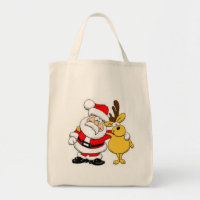 Santa With Deer Tote Bag