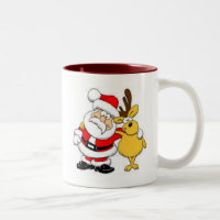 Santa With Deer Two-Tone Coffee Mug