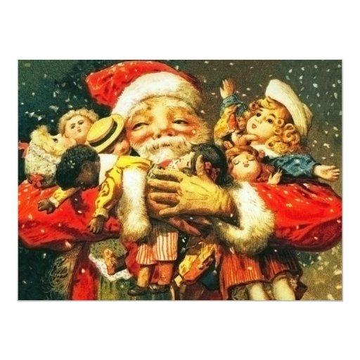Santa with Dolls 6.5x8.75 Paper Invitation Card