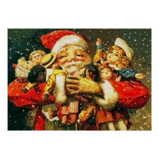 Santa with Dolls Posters