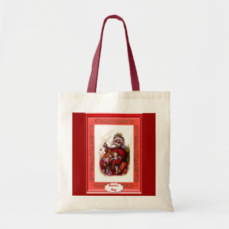Santa with dolls tote bag