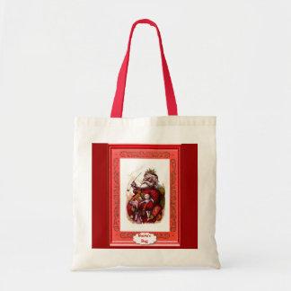 Santa with dolls tote bag