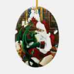 santa with dragon friend Double-Sided oval ceramic christmas ornament