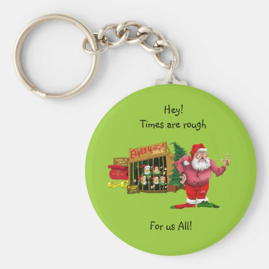 Santa with elves for rent keychain