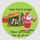 Santa with elves for rent round sticker