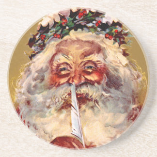 Santa with Feather Drink Coasters