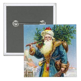 Santa with Fir Tree Button