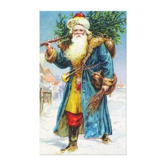 Santa with Fir Tree Canvas Print
