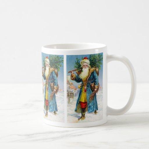Santa with Fir Tree Classic White Coffee Mug