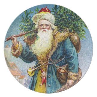 Santa with Fir Tree Dinner Plate
