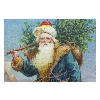 Santa with Fir Tree Cloth Place Mat