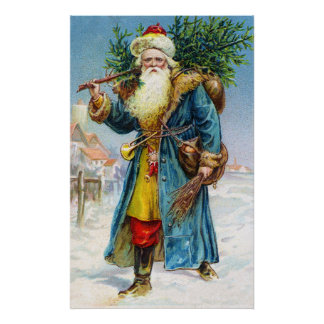 Santa with Fir Tree Posters