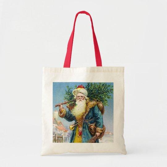 Santa with Fir Tree Tote Bag