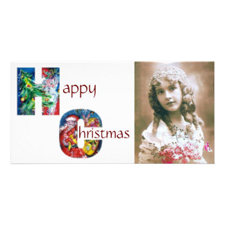 SANTA WITH GIFTS AND CHRISTMAS TREE MONOGRAM PHOTO CARD