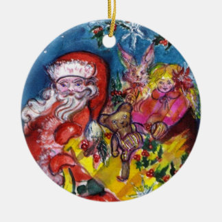 SANTA WITH GIFTS AND TOYS Christmas Ceramic Ornament