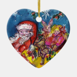 SANTA WITH GIFTS  Blue Sapphire Heart Christmas Tree Ornament
