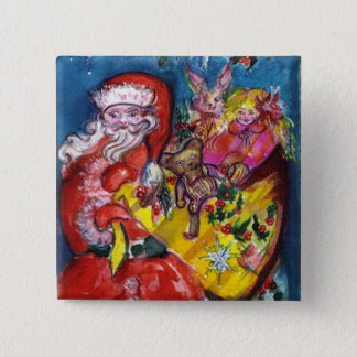 SANTA WITH GIFTS PINBACK BUTTON