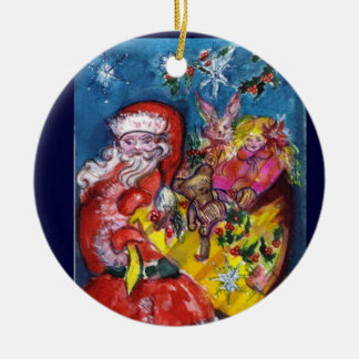 SANTA WITH GIFTS Red Ruby Gem Ornaments