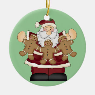 Santa with Gingerbread Cookies Ornament