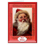 Santa with gold rimmed glasses greeting card