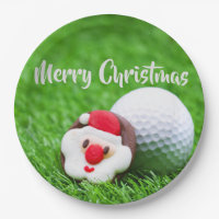 Santa with golf ball Christmas Paper Plate
