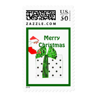 Santa with Green Christmas Package small Postage