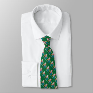 santa with green sack and gifts christmas tie