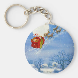 Santa with his flying Reindeer Keychain