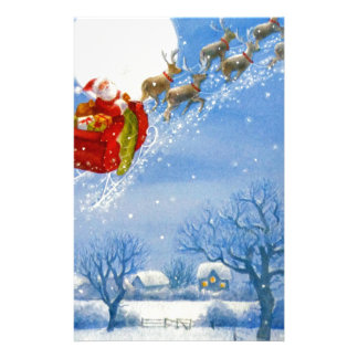 Santa with his flying Reindeer Stationery