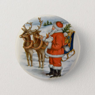 Santa With His Reindeer Button