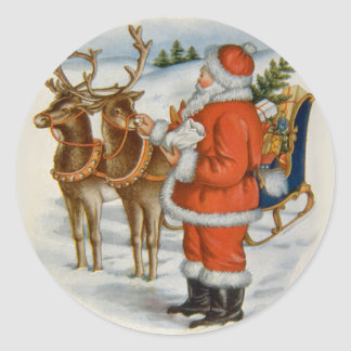 Santa With His Reindeer Classic Round Sticker