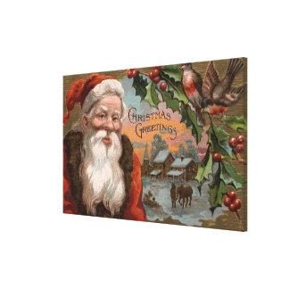 Santa with Holly, Village Scene Canvas Print