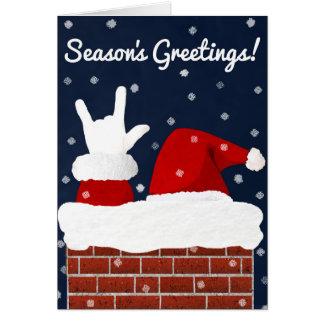 Santa with I Love You Handshape Christmas Card