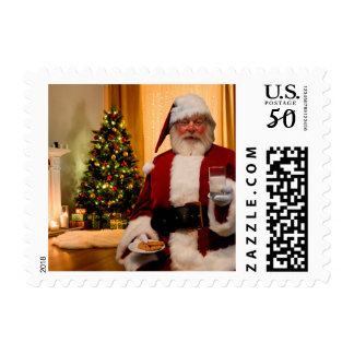 Santa with Milk and Cookies Postage