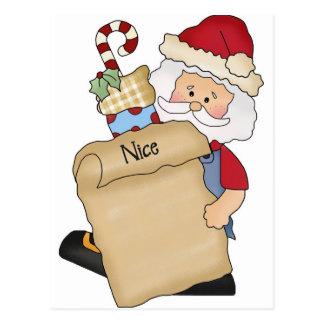 Santa with Nice list Postcard