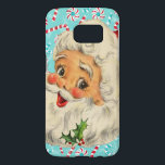 "Santa with Peppermints Samsung Galaxy S7 Case<br><div class=""desc"">Sweet Vintage Santa design of a Jolly Santa Claus against a turquoise background with peppermints and candy canes.</div>"