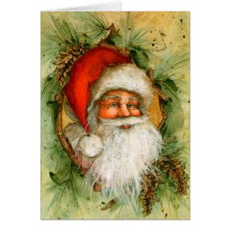 Santa with Pinecones Cards