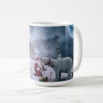 Santa with Polar Bears on a Snowy Christmas Night Coffee Mug